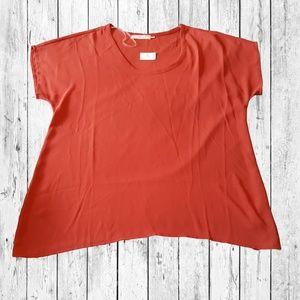 Lush Sheer Short Sleeve Blouse Small Orange